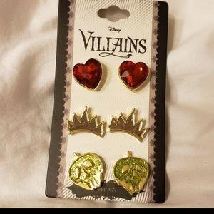 Disney Villians Evil Queen 3 piece earring set NWT